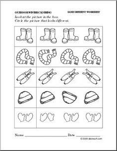 preschoolset_winter_clothing_samediff_p – Crafts and Worksheets for Preschool,Toddler and Kindergarten