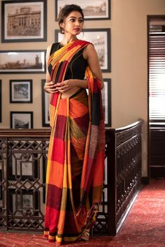 Multicolor Checkered Pure Cotton Saree