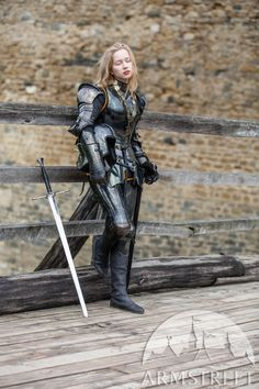 "Female armor kit made of blackened spring steel ""Dark Star"" for sale. Available in: stainless, blackened spring steel, mirror polishing, satin polishing :: by medieval store ArmStreet Female Armor, Female Knight, Medieval Armor, Medieval Fantasy, Armadura Medieval, Pauldron, Spring Steel, Dark Star, Suit Of Armor"