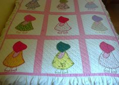 Sun Bonnet Sue quilt 1930's quilt and sham twin size by brixiana, $200.00
