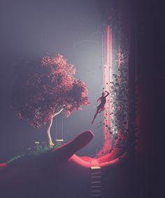 Felix Rothschild& characters are just like us, plus a few millennia of evolution. Arte Cyberpunk, Modelos 3d, 3d Artwork, Artwork Design, Futuristic Art, Arte Horror, Science Fiction Art, Environment Concept Art, Fantasy Landscape