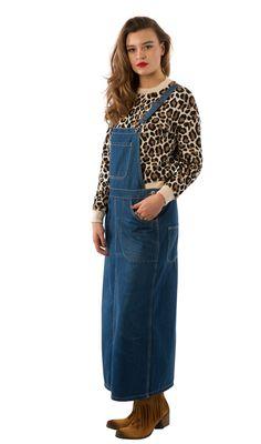 USKEES SKYLAR Calf length Denim Dungaree Dress – Darkwash