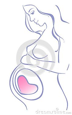 Mujer embarazada. Dibujo lineal.