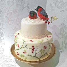sweat cake with two finches for a nice little winter wedding https://www.facebook.com/YavesCakeInk/