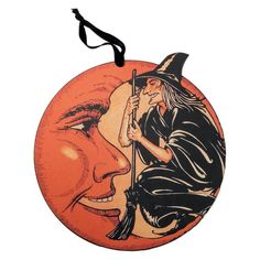 """Check out """"Witch Moon Wall Decor"""" by Annie Schickel for Primitives by Kathy at Traditions! Traditions is a year-round family owned holiday store that's been in business for over twenty years ~ Retro Halloween, Vintage Halloween Decorations, Halloween Signs, Halloween Tricks, Halloween Crafts, Moon Pillow, Halloween Table Runners, Holiday Store, Vintage Gothic"""