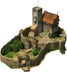 Banditry is a real problem within the kingdom of Caerwyn, so much so that some of the more successful groups are able to build keeps that they can defend against the law. Fantasy Town, Fantasy Castle, Fantasy Map, Medieval Fantasy, Fantasy Artwork, Fantasy World, Medieval Houses, Medieval Castle, Minecraft Medieval