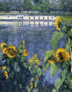 GUSTAVE CAILLEBOTTE - Sunflowers on the Banks of the Seine (1886)