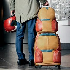 """. One of our most favourite products from """"COLEOS"""" series. Cabin Trolley + Computer Backpack Trolley code: BV3148OS Backpack code: CA2944OS Available in 7 colors. For price check call shop. #piquadro #piquadroiran #samcenter#iranfashion"""