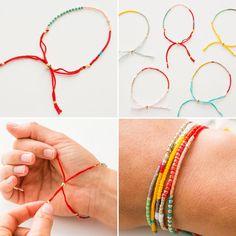 Utilice granos de la semilla para hacer estas pulseras de la amistad de colores.