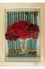 Resultado de imagen para telares decorativos de arboles Weaving Textiles, Weaving Art, Tapestry Weaving, Loom Weaving, Hand Weaving, Circular Weaving, Donia, Red Tree, Yarn Thread