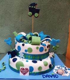 Cute Cake for boy's Baby Shower  Pastel para Baby Shower de niño