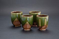 織部刻文湯呑 Japanese teacup with engraved, Oribe type 2012