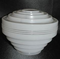 Vtg Art Deco Tiered GLASS BULLSEYE Button FITTER SHADE f/ Ceiling Light Rings