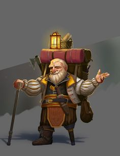 m Dwarf Merchant Bard Peg Leg Backpack of Holding wares Staff Axe Bag of Holding Traveler Underdark Fortress Mountains Conifer forest Hills River urban City coastal Sea Islands Story Alexander Maximov Fantasy Dwarf, Fantasy Rpg, Medieval Fantasy, Dungeons And Dragons Characters, D D Characters, Fantasy Characters, Comic Character, Game Character, Character Concept