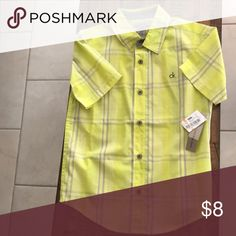 ff5f11c0b9a3 NEW Calvin Klein boys yellow sz8 button down shirt This is a new with tags  Calvin
