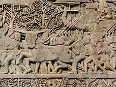 Bas Reliefs Depicting Scenes Of Battles In The Khmer Empire - Temple of Bayon