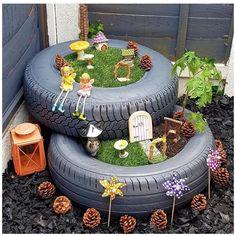 Preschool Garden, Sensory Garden, Tyre Ideas For Kids, Garden Ideas Eyfs, Very Small Garden Ideas, Garden Ideas With Tyres, Eyfs Outdoor Area, Outdoor Play, Kids Fairy Garden