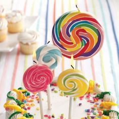 Large Colorful Party Swirl Lollipop Candle  ‪#‎socialcircus‬