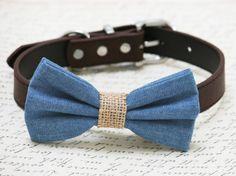 Blue and brown dog bow tie -Blue Burlap dog bow tie, wedding dog collar, Country, Rustic Wedding , dog birthday gift, denim bow tie