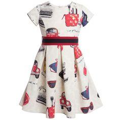 Monnalisa Ivory & Red Print Neoprene Dress at Childrensalon.com