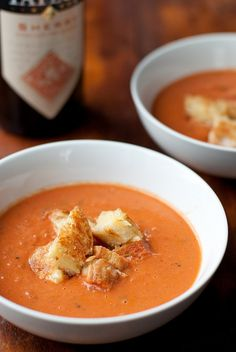 Sherried Tomato Soup with Grilled Cheese Croutons by Cheese and Chocolate