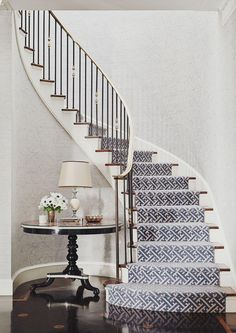 staircase - Markham Roberts Carpet selection for stairs. This staircase – Markham Roberts Carpet selection for stairs. This staircase - Markham Roberts Carpet selection for stairs. This staircase – Markham Roberts Carpet selection for stairs. Staircase Runner, New Staircase, Curved Staircase, Staircase Design, Stair Runners, Spiral Staircases, Staircase Ideas, Staircase Outdoor, Balustrade Design