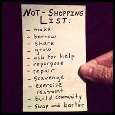 "Love this ""not shopping list"". It's a real money saver!"