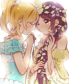 "Illustration ""Cinderella and Rapunzel"" / the ""kuroki @ Anarabu"" [pixiv]"