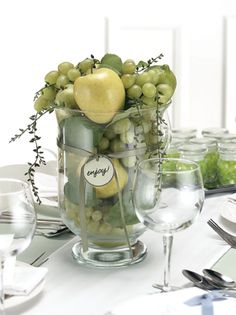 Fruit theme tablescape for wine & cheese reception