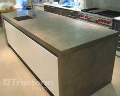 Concrete Countertops | Concrete Countertop Island Dropdown Leg