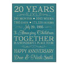 20 Year Anniversary Gift, Wedding Anniversary Gift Print, Gift for ...