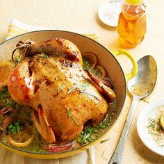 Honey-Roasted Chicken with Spring Peas & Shallots from BHG.com