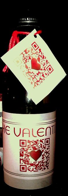 My Valentine's gift.  Custom made wine label, QR code goes to website with a poem for me.