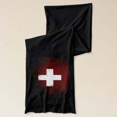 Shop Black Grunge Switzerland Flag Scarf created by electrosky. Switzerland Flag, Swiss Flag, Black Grunge, Neck Warmer, Grey And White, Flags, Kids Outfits, Shop Now, Stylish