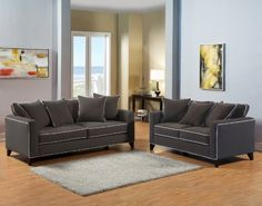 Furniture of America Verite 2Piece Chenille Sofa and Loveseat Charcoal ** Check out this great product.Note:It is affiliate link to Amazon.
