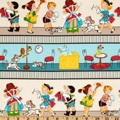 Little Helpers Kids Aqua Blue Fabric