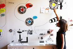 Back to school Art wall paper colorful dots & cartoon DIY