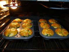 The quiches puff up in the oven