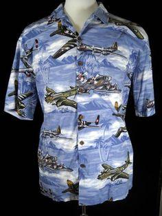 Kalaheo RTC Hawaiian Shirt Vintage Military Fighter Planes