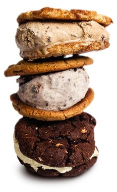 Moojo's ice cream sandwiches star gourmet, all natural ice cream (including Cookies n' Cream, coffee-chip, salted caramel-pretzel) -- smashed between two warm, freshly baked home-made cookies (such as Rocky Road, Snickerdoodle, oatmeal-raisin.)