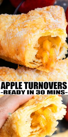 apple pie APPLE TURNOVER RECIPE- Quick, easy, homemade with simple ingredients. Flaky and crispy puff pastry is loaded with delicious apple pie filling. Perfect for breakfast, brunch and mak Apple Recipes With Puff Pastry, Apple Turnovers With Puff Pastry, Puff Pastry Desserts, Apple Pie Recipe With Canned Filling, Simple Apple Pie Recipe, Crescent Roll Apple Turnovers, Apple Pie Pastry, Healthy Apple Desserts, Apple Dessert Recipes