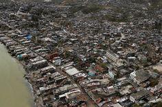 Destroyed houses, after Hurricane Matthew hit Jeremie, Haiti, on October 6, 2016.