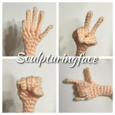 It's playful to crochet this little hand.... #amigurumi #crochet #pattern by #Sculpturingface Www.etsy.com/shop/Sculpturingface