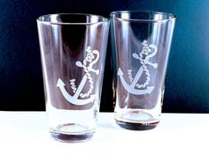 2 Anchor Etched Pint Glasses $25.00 via Etsy