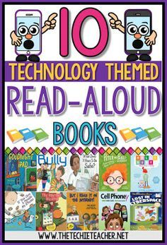 10 technology themed read aloud books for tech inspired lessons. Digital citizenship, online safety, powering down, cyber-bullying, cyber-safety, 3D printing, coding, evaluating websites and technology moderation are all topics covered.