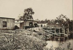 Adcocks Store and Jetty at Southport,Queensland in 1878. •National Library of Australia•
