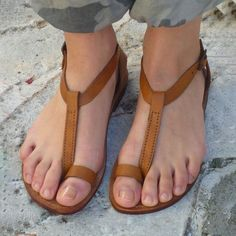 c11dd4778863e Shop Women s Shoes - Brown Daily Adjustable Buckle Leather Flat Heel Sandals  online. Discover unique