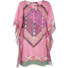 Boohoo Isabella Tribal Sequin Beach Kaftan   Boohoo ($14) ❤ liked on Polyvore featuring tops, tunics, pink kaftan, beach tunic, tribal top, tribal print tunic and pink sequin top
