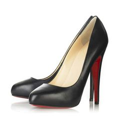 Sheepskin Pointy Closed-toe Black Pumps Heels with Red Bottom