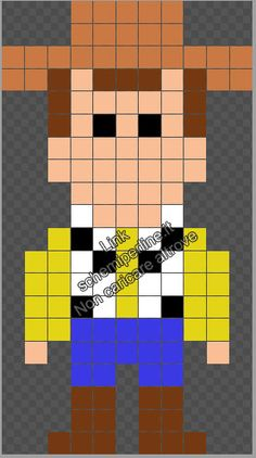 Woody Toy Story schema gratis Pyssla Hama Beads perline a fusione Pixel Art Templates, Perler Bead Templates, Pearler Bead Patterns, Toy Story, Perler Bead Art, Perler Beads, Hama Beads Disney, Easy Pixel Art, Jobs In Art